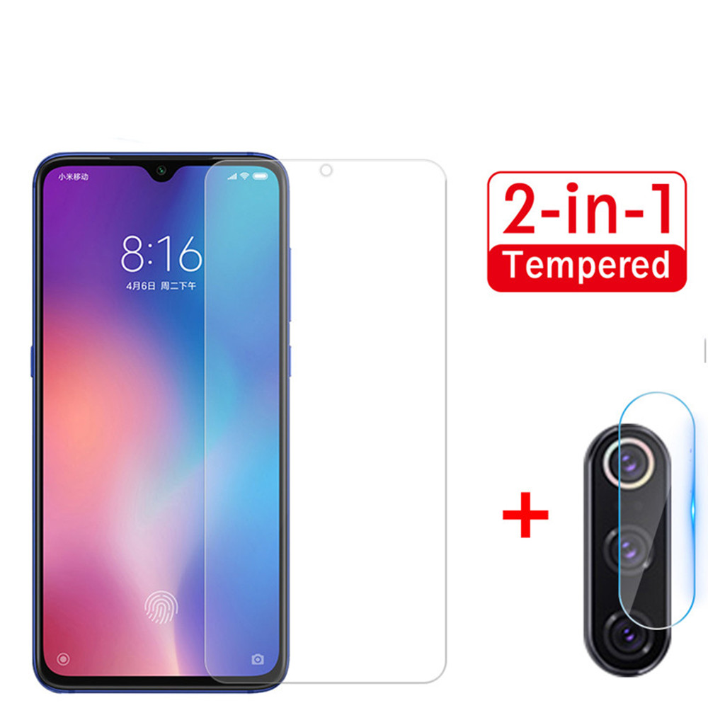 2 in 1 Tempered Glass Back Lens Protective Glass Film for Xiaomi Mi 9- Transparent