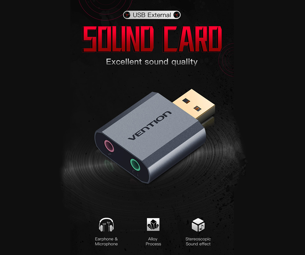 Vention VAB - S18 - H 7.1 Channel 3.5mm External USB Independent Sound Card Free Drive Plug and Play- Gray