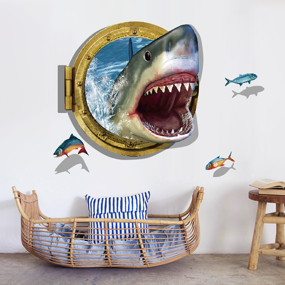 Shark 3D Home Background Wall Decoration Wall Sticker Removable Sticker- Multi-A 60x90cm