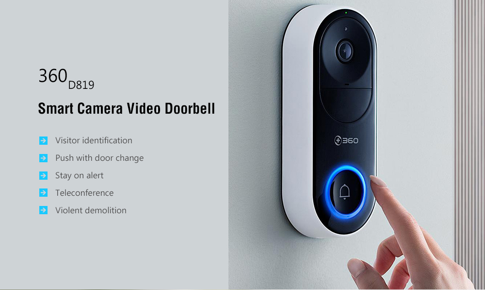 360 D819 Remote Monitoring / Wireless WiFi / Visitor Recognition / Video Call / Ultra Clear Night Vision Smart Camera Doorbell - Black