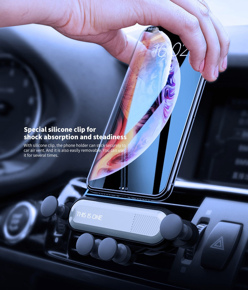 Universal Gravity Car Air Vent Mount Holder Stand Mobile Cell Phone GPS - Silver