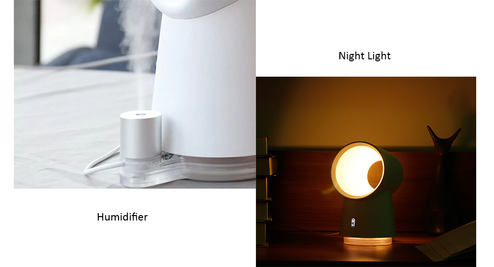 3 in 1 Mini Night Lamp Bladeless Desktop Fan Mist Humidifier from Xiaomi youpin- White