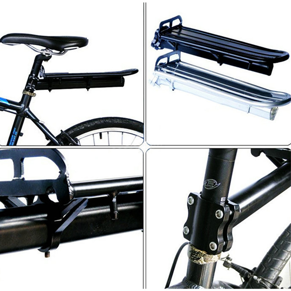 Bicycle Rear Rack Bike Equipment Accessories Telescopic Luggage Carrier - Black