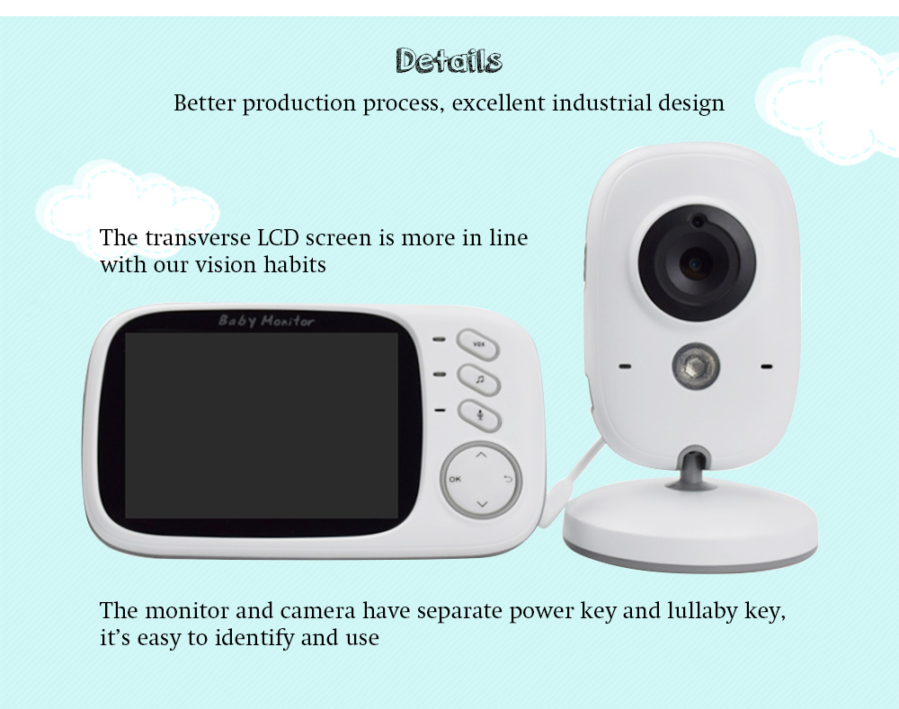 VB603 2.4G Video Baby Monitor Security Mini Camera with 3.2 inch Screen 2 Ways Audio Talk and Night Vision- White EU Plug