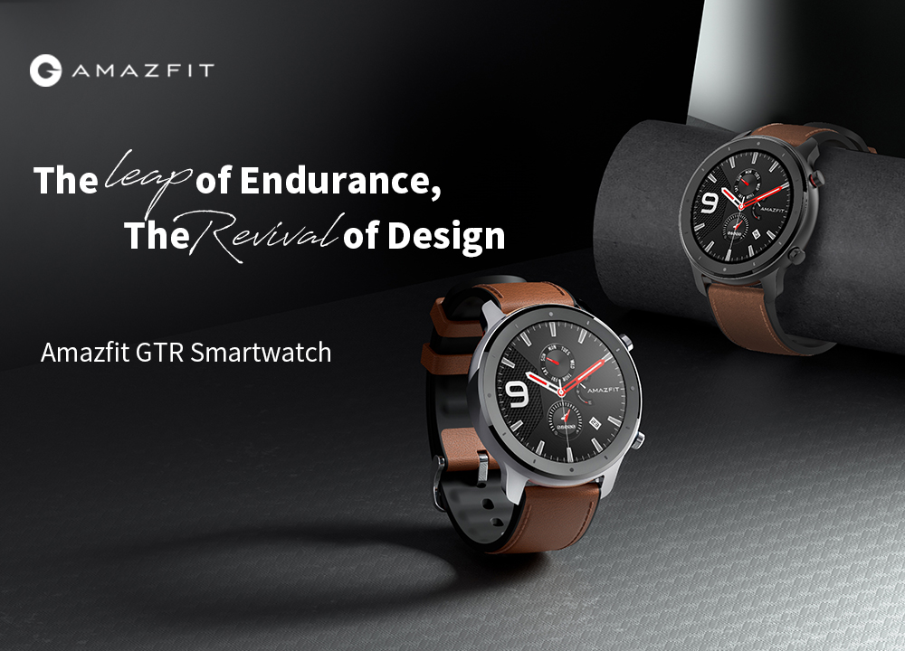 AMAZFIT GTR Smart Watch 47mm 50 Meters Waterproof 12 Sports Modes- Brown Stainless Steel Case