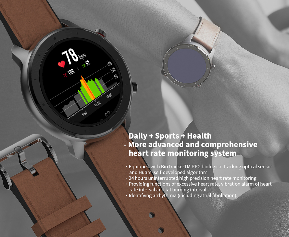 AMAZFIT GTR 47mm Montre Connectée de Version Internationale (Produit d'Ecosystème Xiaomi)- Brun Cas d'alliage d'aluminium
