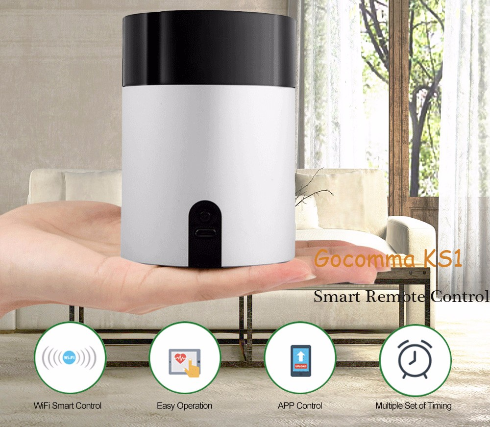 gocomma KS1 One Key Network Connection / App Control / IR Learning Smart Remote Control - Silver