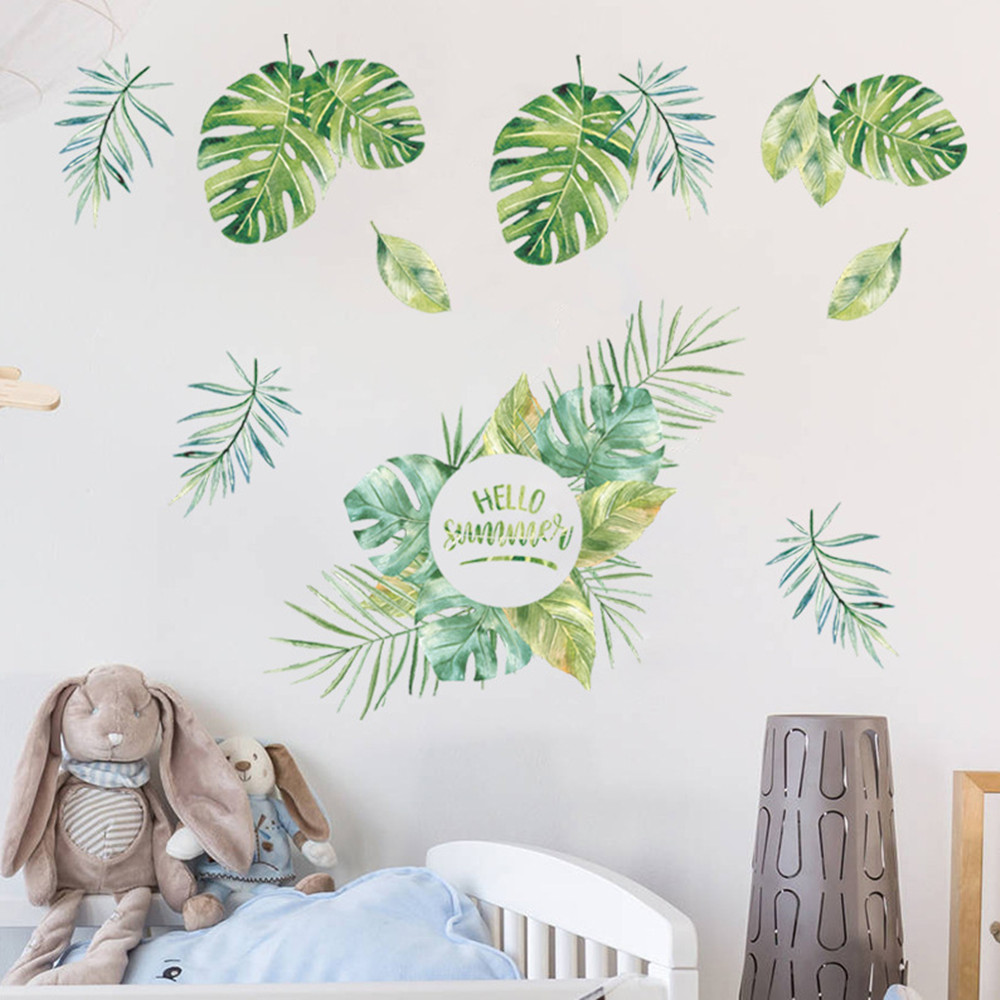 New Plant Green Leaf Home Background Decoration Removable Sticker- Multi-A 50x70cm