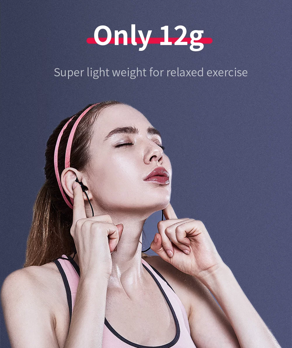 QCY QY19 Bluetooth V4.1 Sport Earbuds with Mic CVC 6.0 Noise Cancelling IPX4 Waterproof Sweatproof - Black