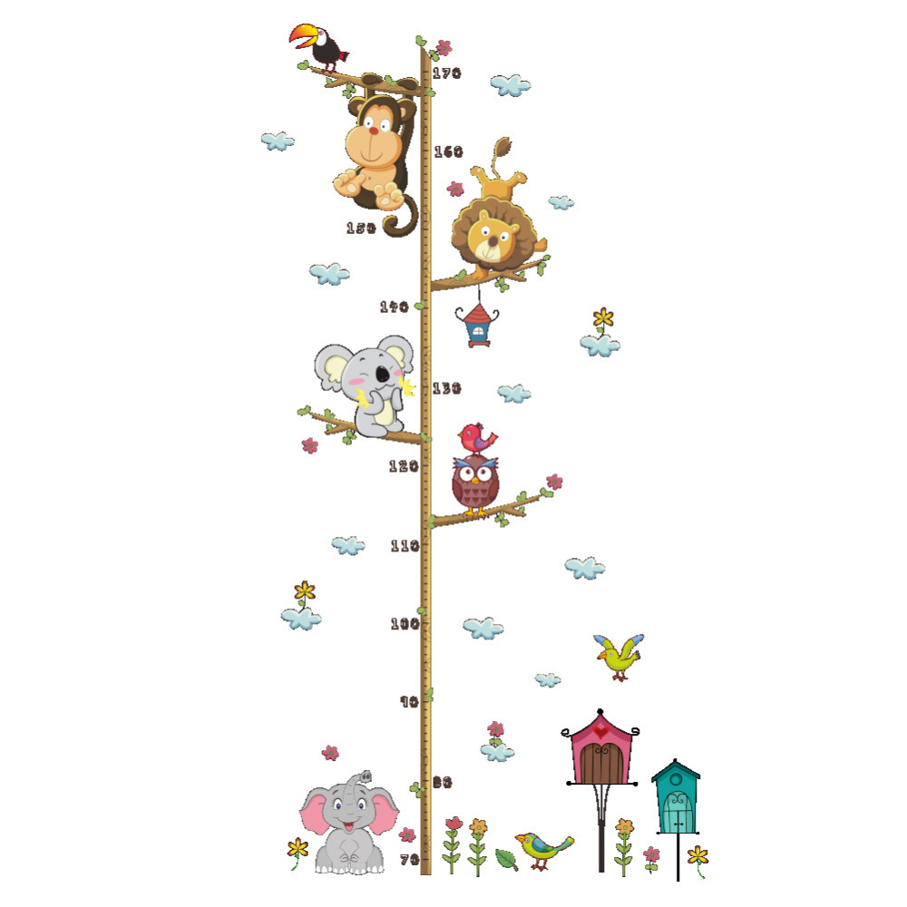 Cute Elephant Lion Zoo Height Sticker Home Decor Removeable Sticker- Multi-A 30x90cm