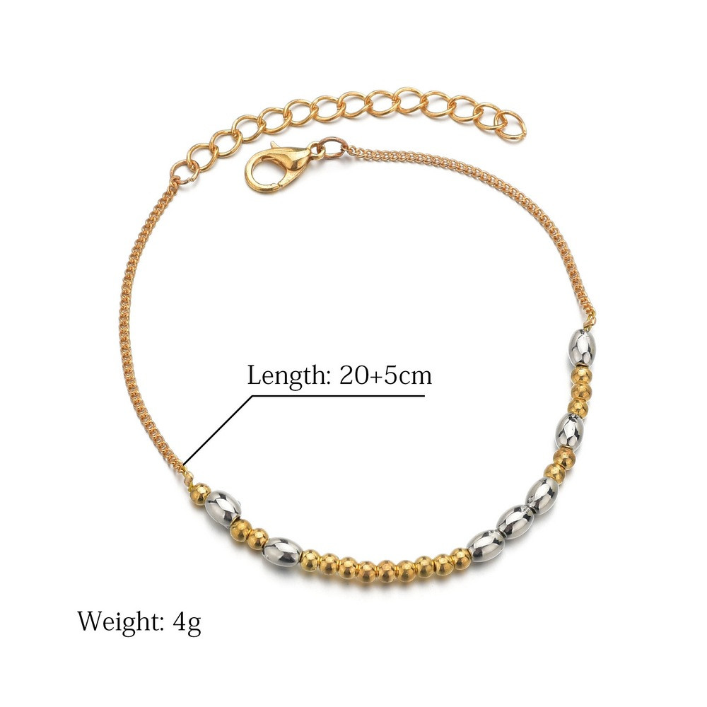 Europe And America Simple Handmade Beaded Rice Bead Anklet Foot Chain Sale Price Reviews Gearbest