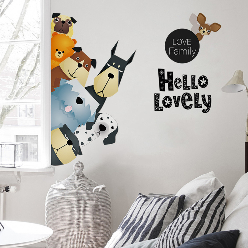 Cute Animal Family Home Background Decorative Wall Stickers Removable Stickers- Multi-A 50x70cm