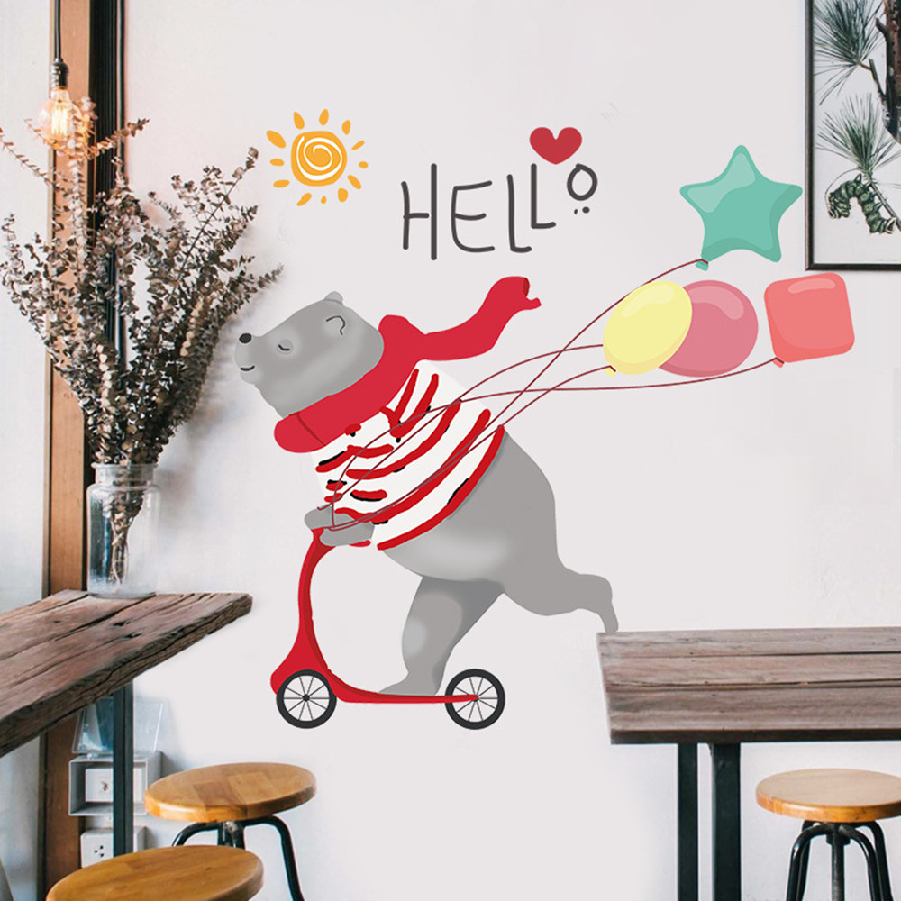 Cute Skateboard Bear Home Background Decoration Removable Sticker- Multi-A 60x90cm