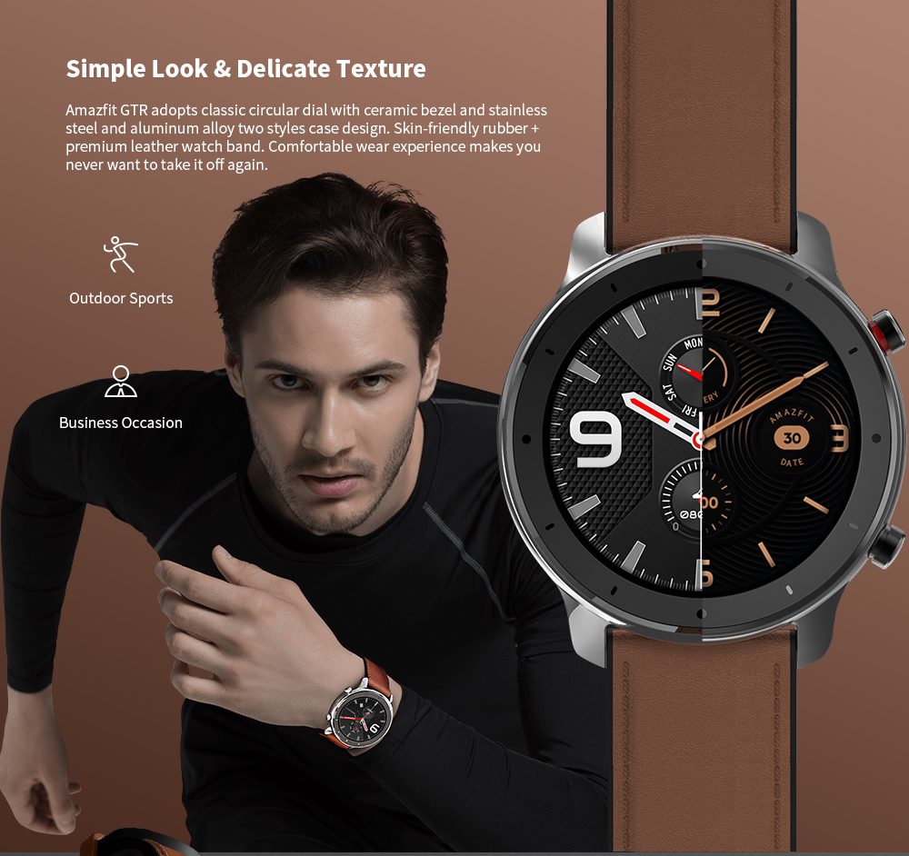 AMAZFIT GTR Smart Watch 47mm 50 Meters Waterproof 12 Sports Modes- Brown 47mm Stainless Steel Case