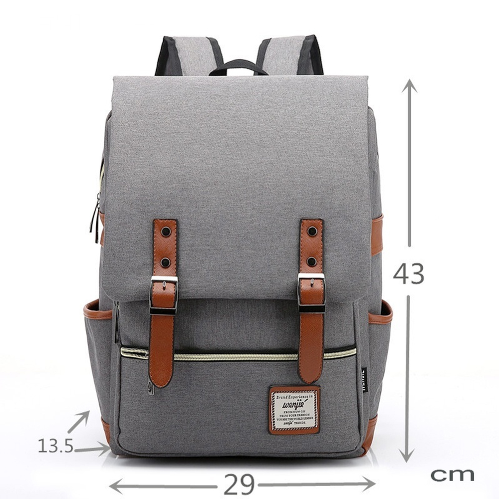Canvas Laptop Usb Backpack Casual College Shoulder Bag for Men- Light Cyan