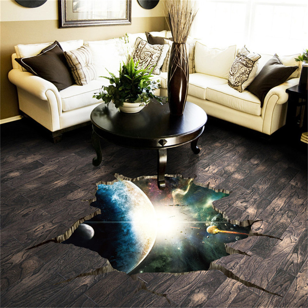 Outer Space 3D Planet Floor Sticker Home Decor Background Removable Sticker- Multi-A 60x90cm