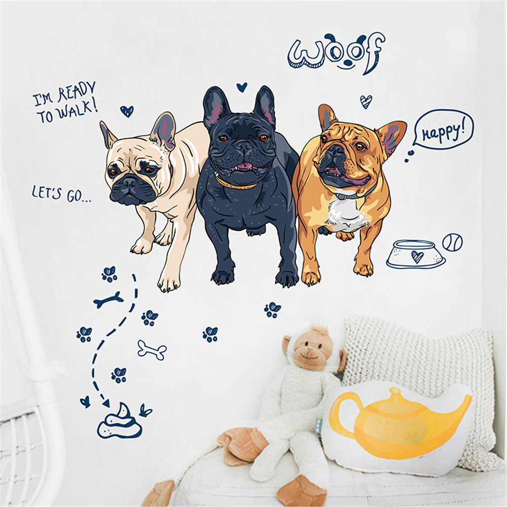 Three Cute Dogs Home Background Wall Decoration Wall Stickers Removable Stickers- Multi-A 60x90cm