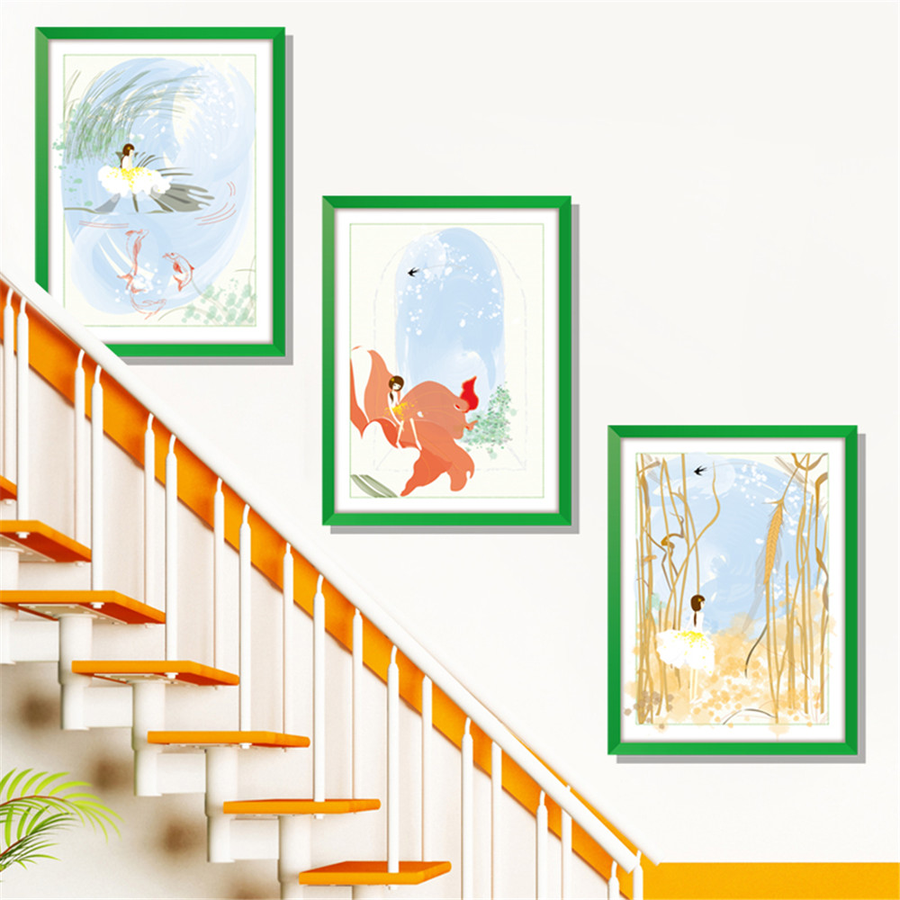 Triptych 3D Warm Girl Home Background Decoration Removable Sticker- Multi-A 60x90cm