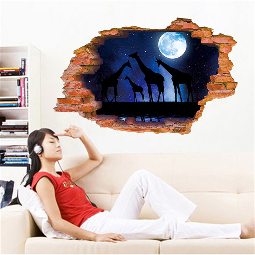 3D Broken Wall Starry Giraffe Home Background Decoration Removable Sticker- Multi-A 60x90cm
