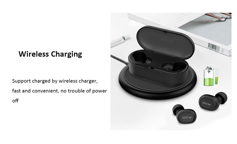 QCY T2S Bluetooth 5.0 Binaural In-ear Earphones Wireless Charging Earbuds with Mic and Charging Dock- Black
