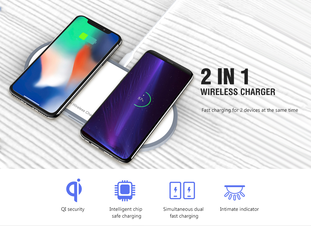 W31 2 Output 10W Fast Charge Wireless Charger - White