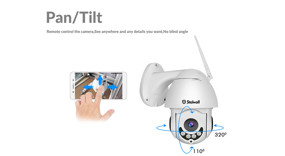 Stalwall S1 1080P / Double Talk / P2P / APP Control / H.265 / Night Vision / High Speed Dome Outdoor Waterproof WiFi Pan / Tilt IP Camera- White 3.6MM lens