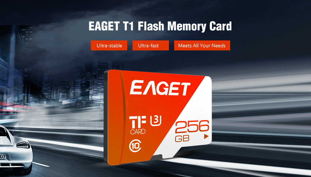 EAGET T1 UHS - I Carte Mémoire Flash TF à Haute Vitesse- Rouge 16Go