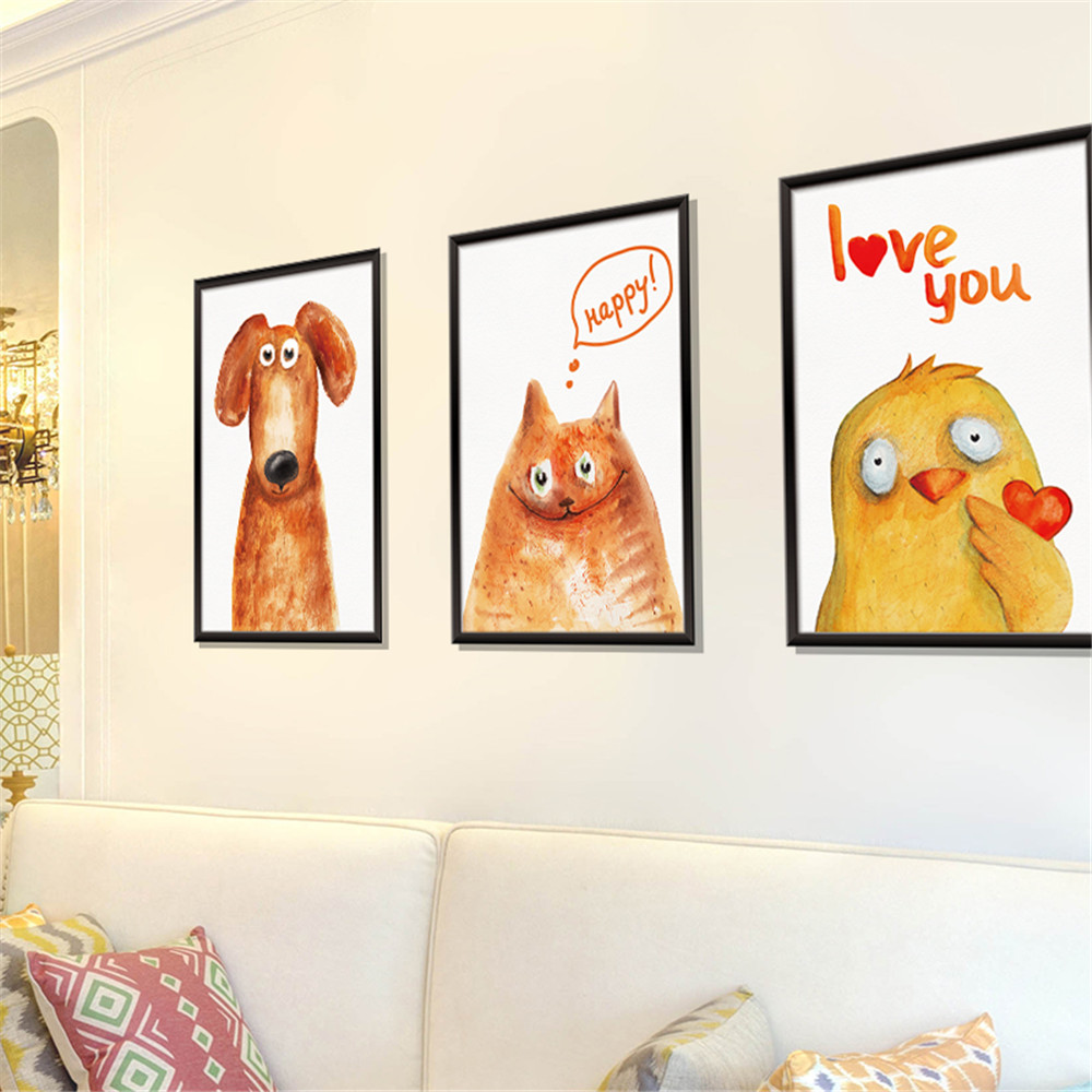 Animal Painting 3D Photo Frame Home Background Decoration Removable Sticker- Multi-A 60x90cm