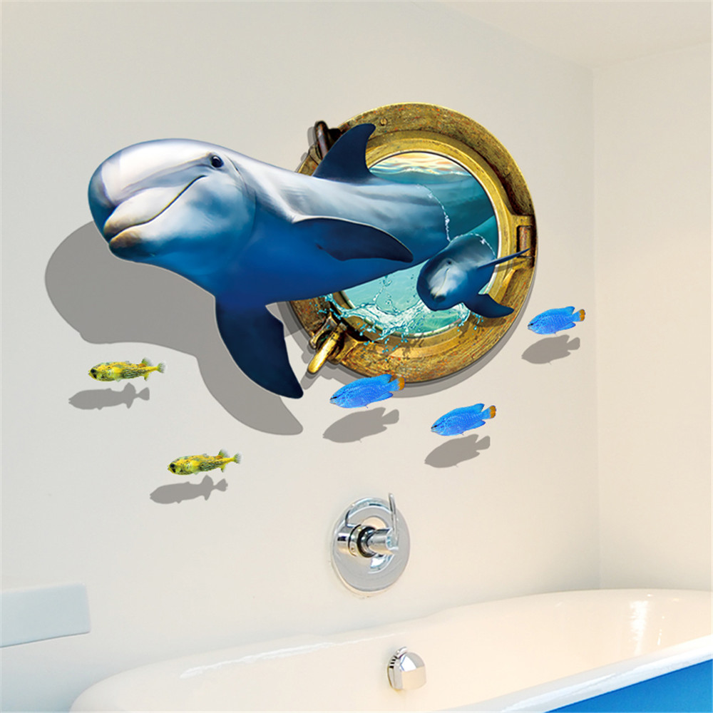 New Dolphin 3D Broken Wall Home Background Decoration Removable Sticker- Multi-A 60x90cm