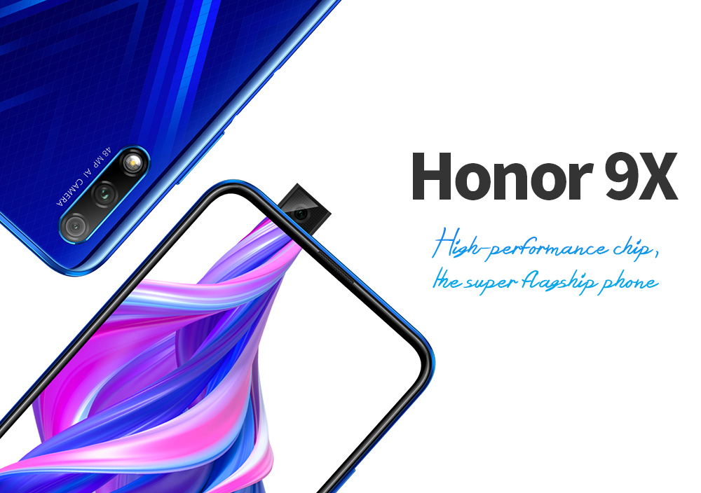 HUAWEI Honor 9X 4G Phablet 6.59 inch EMUI 9.1.1 ( Based on Android 9.0 ) Hisilicon Kirin 810 2.27GHz + 1.88GHz Octa Core 6GB RAM 128GB ROM 48.0MP + 20.0MP Rear Camera 4000mAh Battery- Black