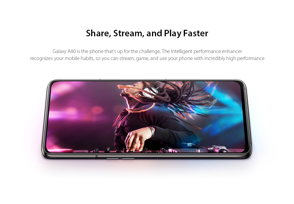 Samsung Galaxy A80 4G Phablet 6.7 inch Android 9.0 Pie Qualcomm Snapdragon 730G Octa Core 8GB RAM 128GB ROM 48.0MP + 8.0MP + HQVGA 180 Degrees Rotatable Camera 3700mAh Battery- Silver