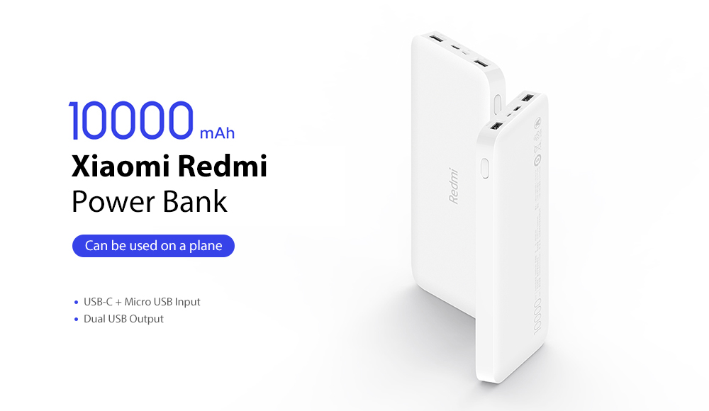 Xiaomi PB100LZM Redmi Power Bank 10000mAh Dual Input / Output Ports / 18W Charging Standard Version- White