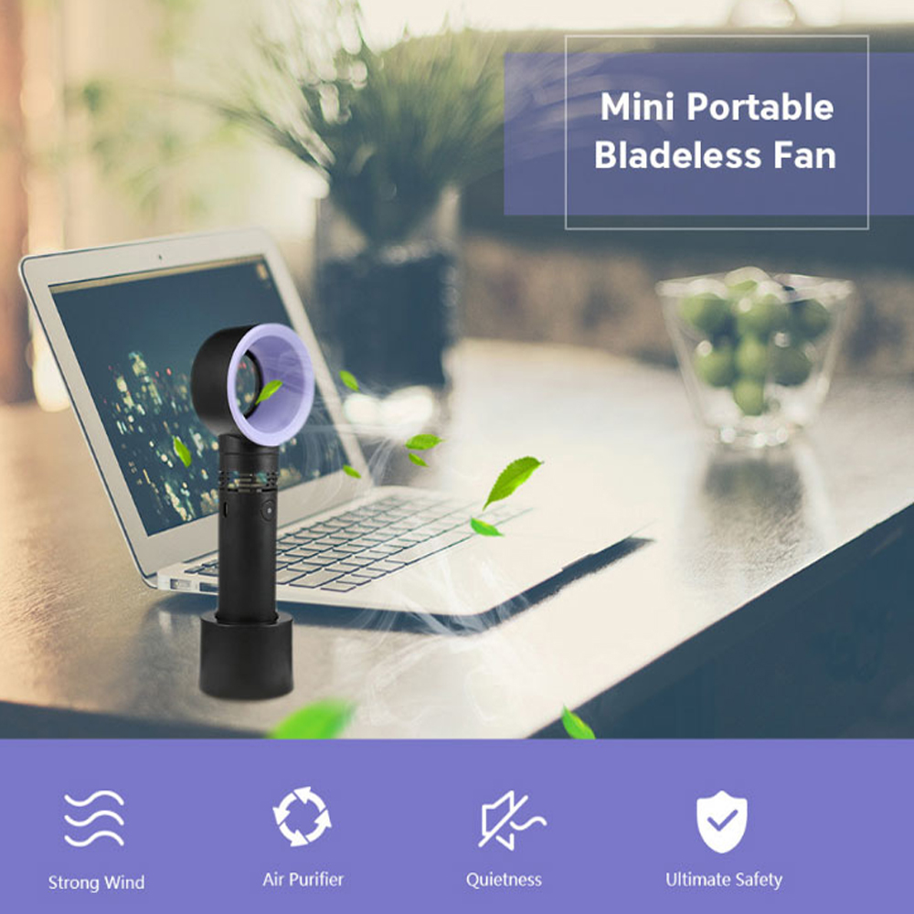 USB Portable Handheld Cooler Leafless Bladeless Fan Rechargeable 3 Speed Rating- Black