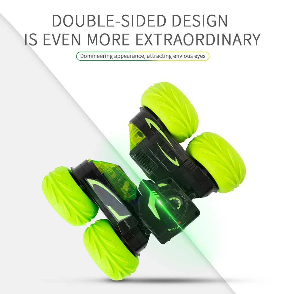 JDRC SY005 - 1 12km/h 2.4G Wireless Remote Control Fancy Stunt Car 360 Degrees Rotation RC Vehicle with Cool Light- Green