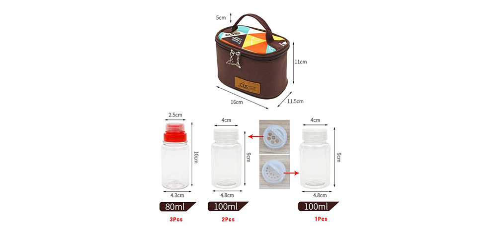 Mini Outdoor Camping Barbecue Seasoning Tank with Kitchen Portable Storage Box- Blood Red