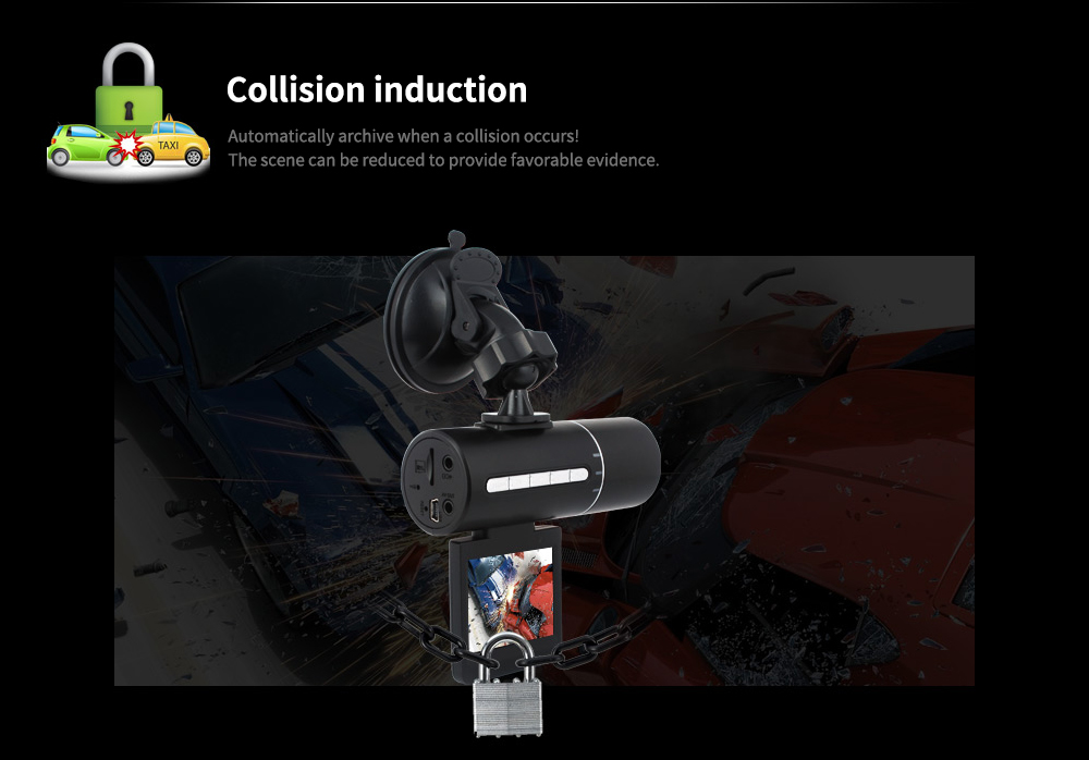 Tecney N2 2 inch Screen / 120 Degree Wide Angle / Gravity Induction 1080P Infrared Night Vision Driving Recorder- Black