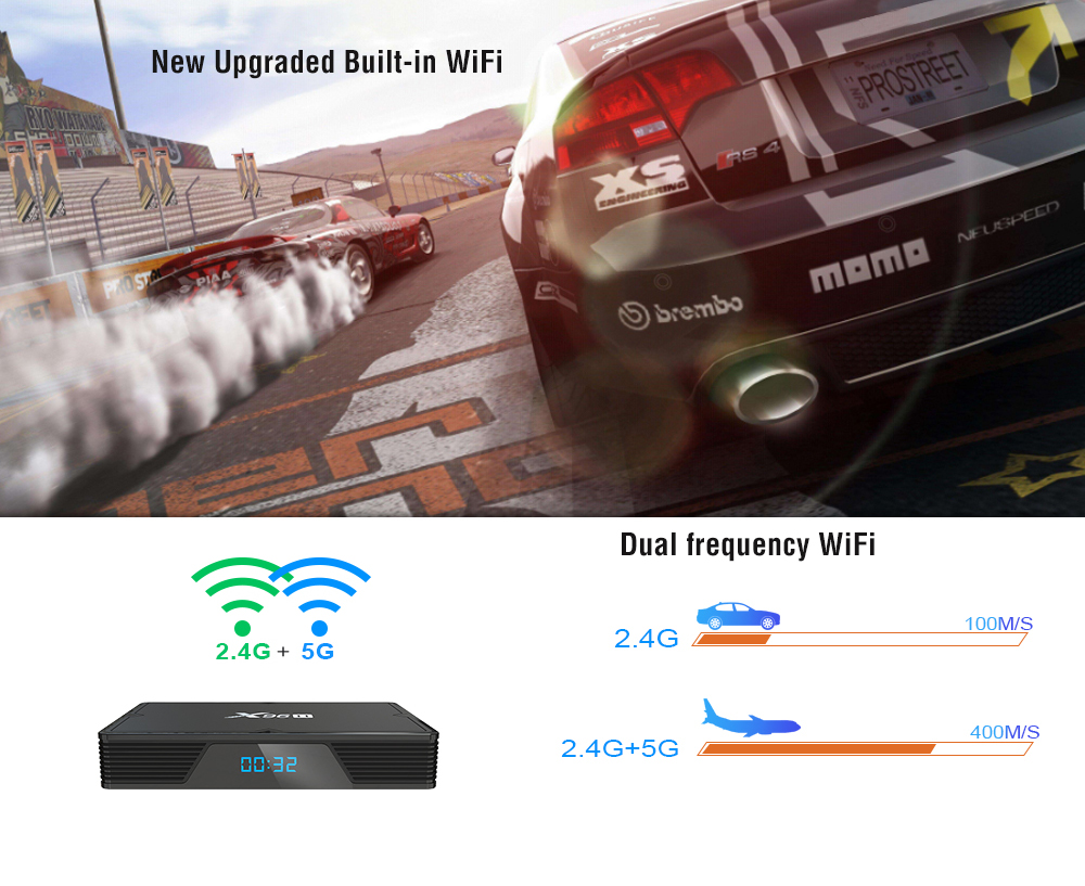x96 X96H Smart Android 9.0 TV Box Allwinner H603 / Mali T720 / Android 9.0 / 2.4GHz WiFi / 100Mbps / USB3.0 / VP6 / 8 / 9 / Support 6K- Black 4GB RAM + 64GB ROM EU Plug