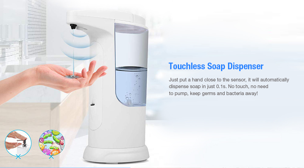 Bilikay 1805 370ml Large Capacity IP65 Waterproof Contactless Automatic Soap Dispenser for Bathroom Kitchen - White