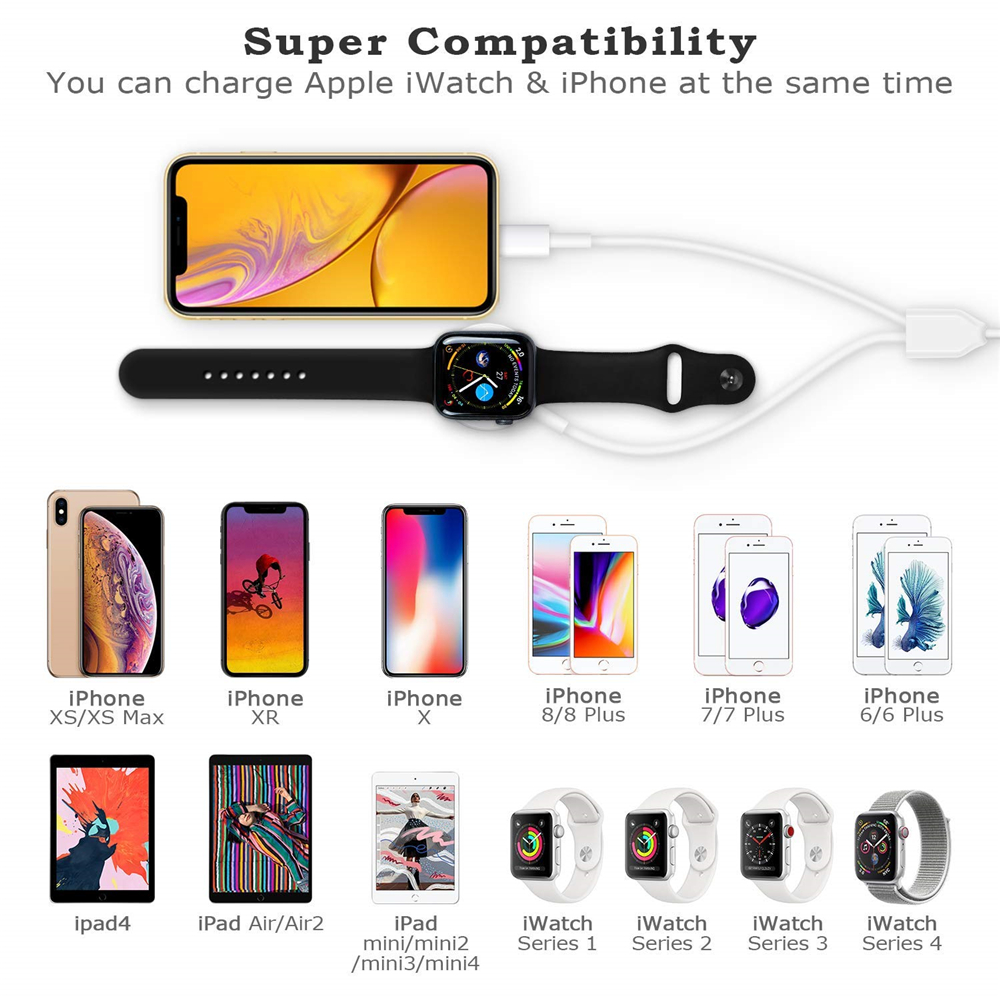 2 In1 Usb Wireless Charger For Apple Watch Series 4 3 2 1 Iphone Xr Xs Max X 8 7
