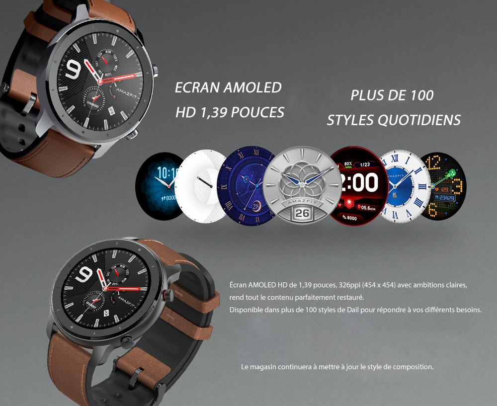 AMAZFIT GTR 47mm Montre Connectée de Version Internationale (Produit d'Ecosystème Xiaomi) - Brun Cas d'alliage d'aluminium Over 8950€, get 895€ OFF, Order 2+ Items, get 20% OFF 1 I