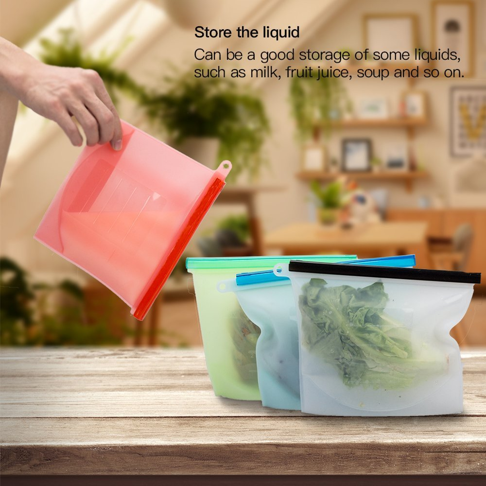 Food Grade Silicone Fresh Bag Home Food Sealing Storage Bags 1000ML 4PCS- Multi-A Pack of 4