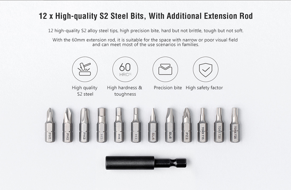 Xiaomi Mijia MJDDLSD001QW Home Electric Screwdriver 5N.m High Torque 2000mAh Battery 12 Pieces S2 Bits- Black