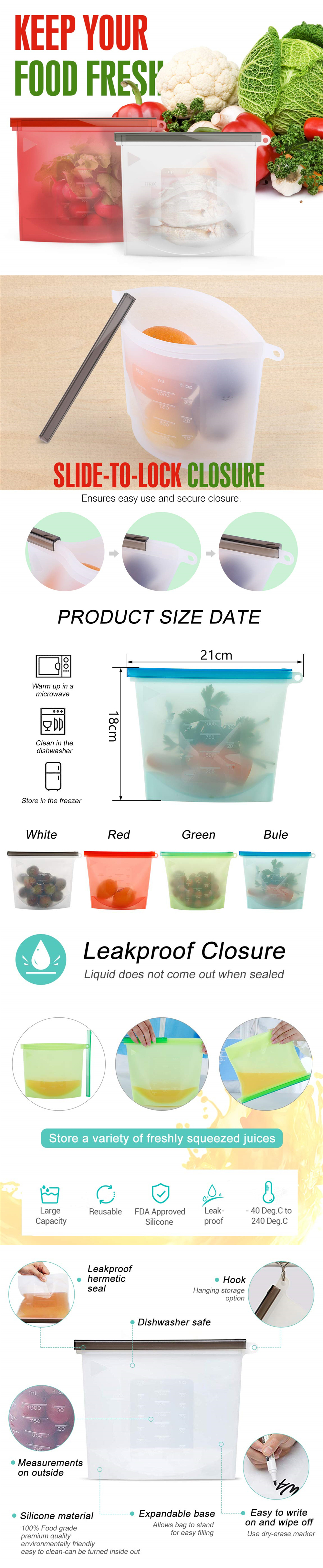 Reusable Sealing Fresh-keeping Bags Silicone Food Storage Bags 1000ml 6PCS- Green Pack of 6