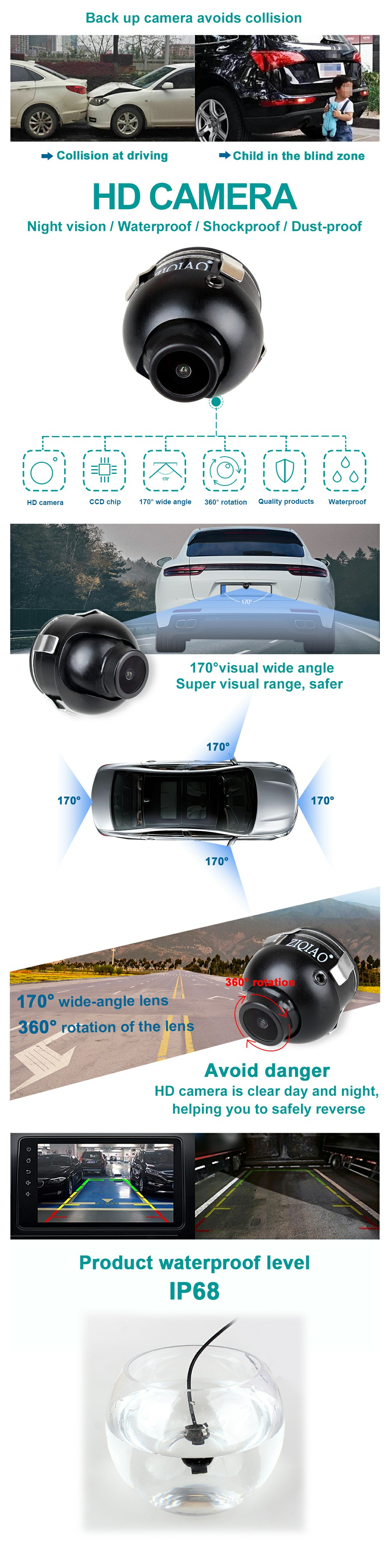 Side View Left Right View Camera Waterproof 170° With Sticker Car Front View