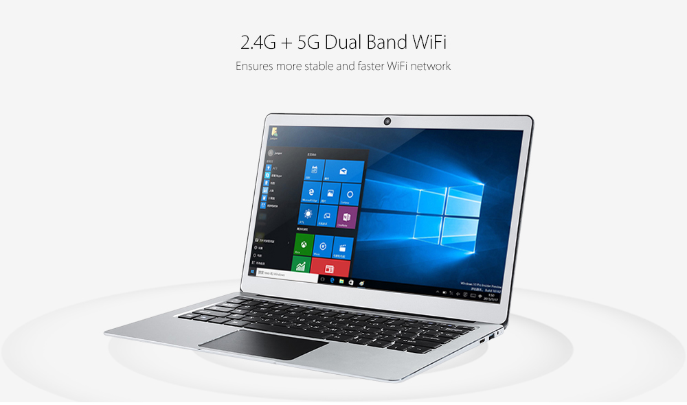 Jumper EZbook 3 Pro Notebook 13.3 inch Windows10 Home Ultrabook Intel Celeron J3455 Laptop 6GB DDR3L RAM 64GB eMMC ROM Laptop with Dual USB 2.0MP Camera 4500mAh Battery  - Silver