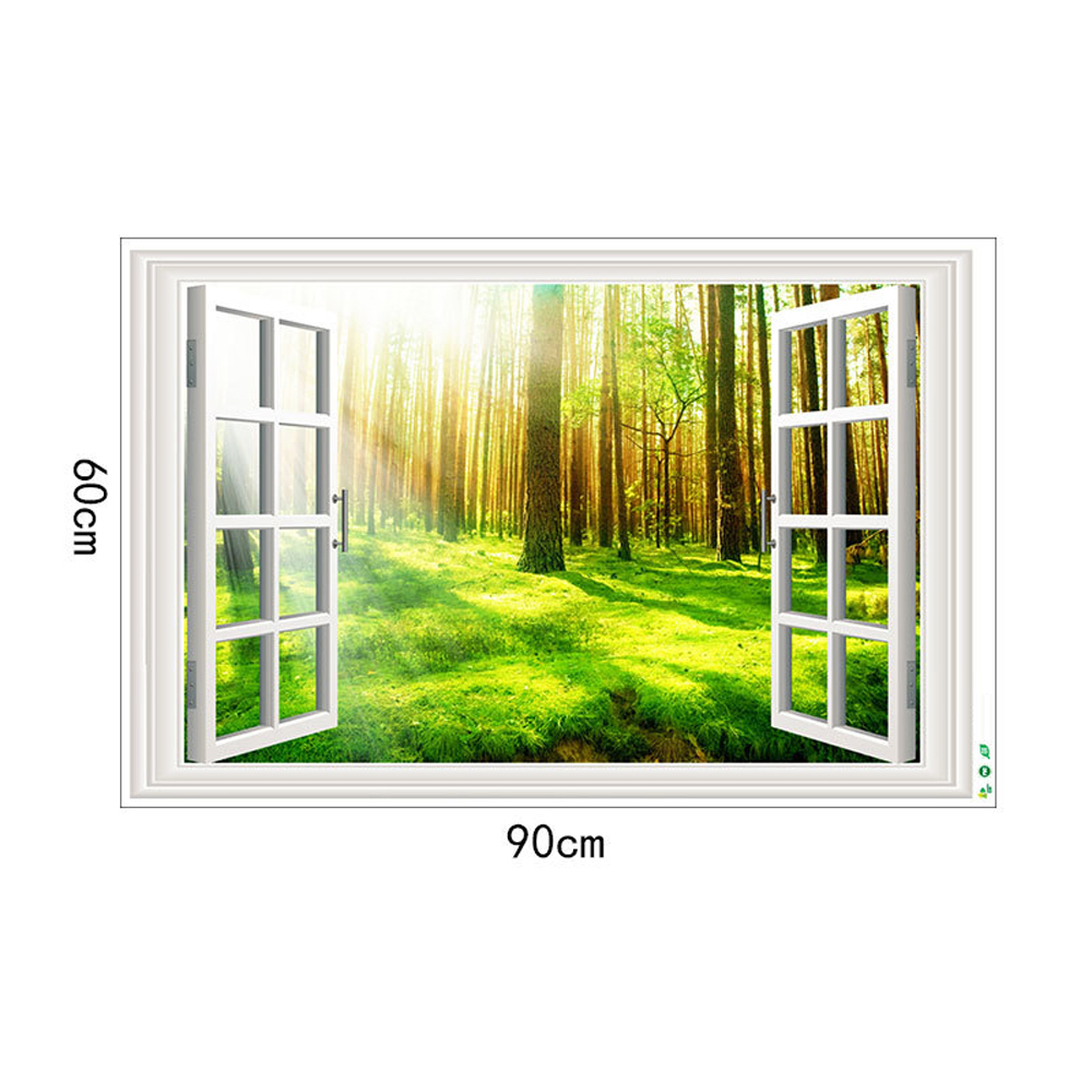 Sunshine Forest Movable PVC Window Film Wall Sticker For Home Decoration- Multi 24 x 36 inch