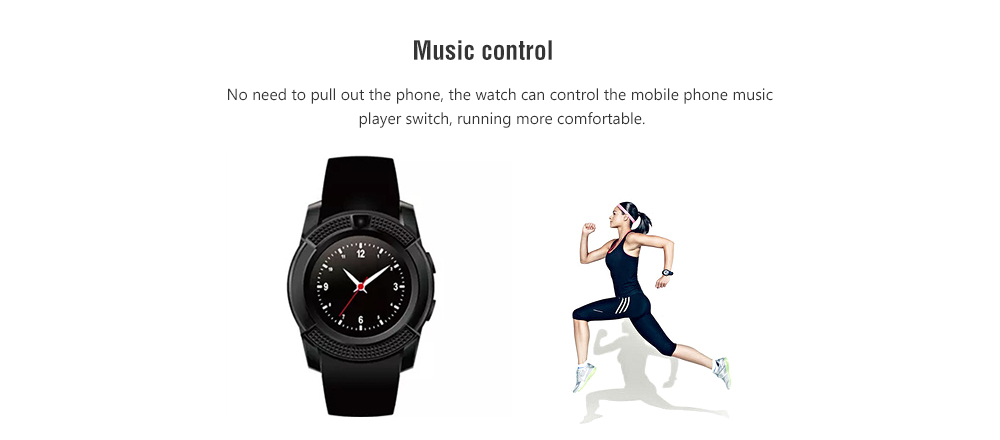 V8 IP67 Waterproof / SIM Card Support / Remote Picture Bluetooth Touch Screen Smart Watch Phone- Black