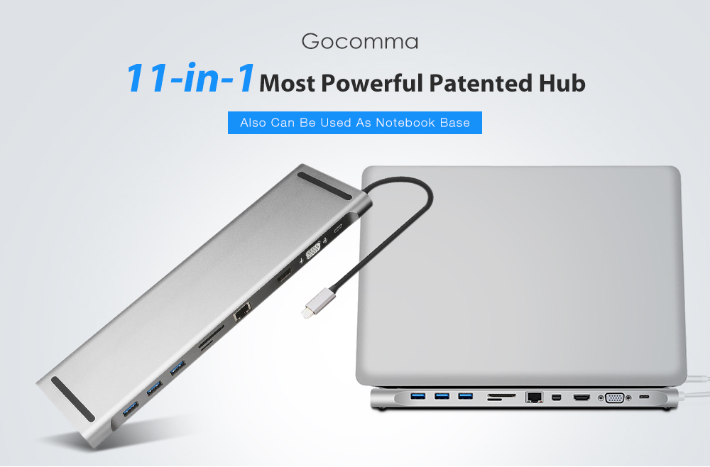 Gocomma 11-in-1 Most Powerful Patented Hub- Silver