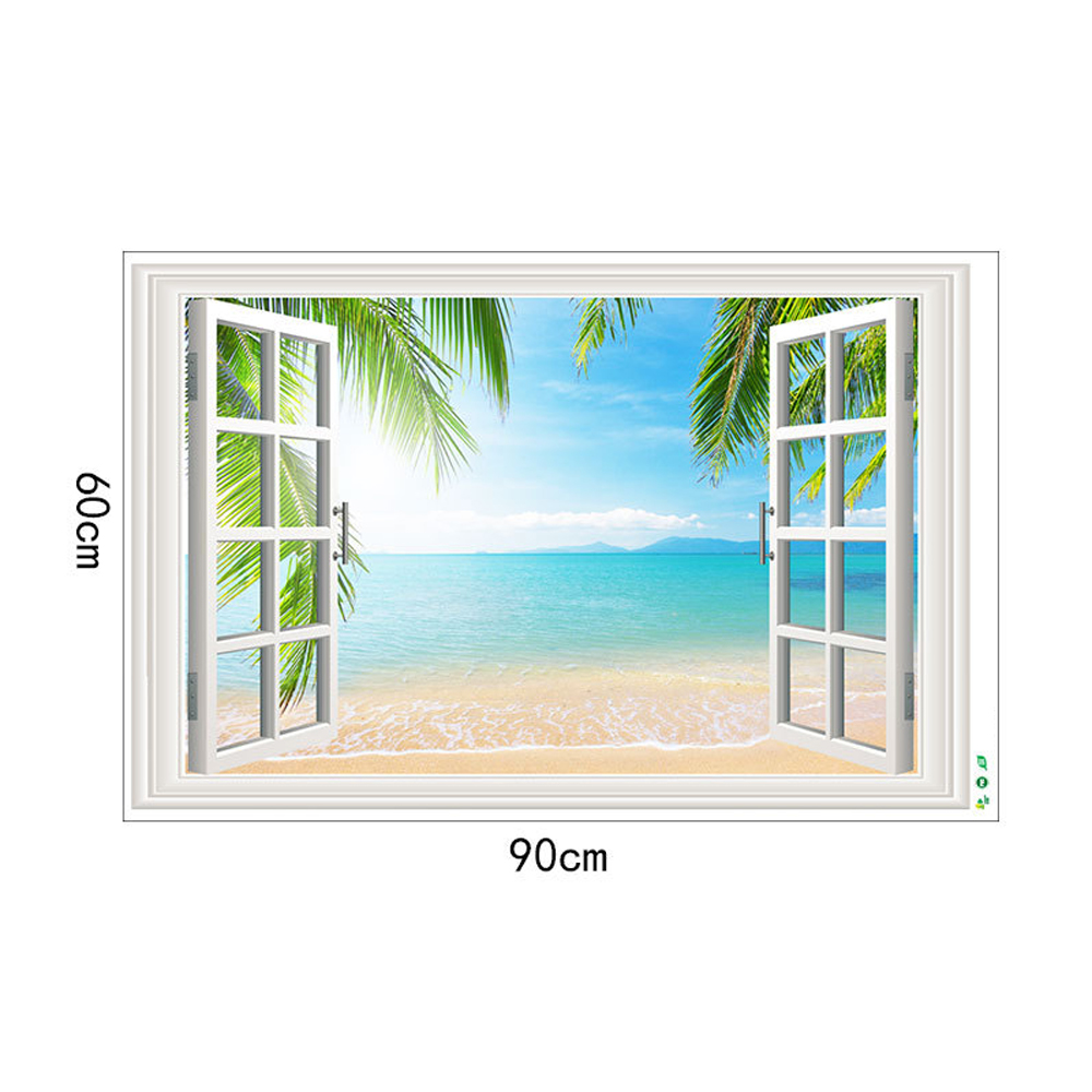 Sandy Beach Movable PVC Window Film Wall Sticker For Home Decoration- Multi 24 x 36 inch