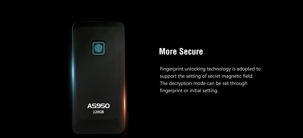 ASint AS950 Type-C Interface USB 3.1 Fingerprint Double Encryption Mobile Solid State Drive- Black 120GB